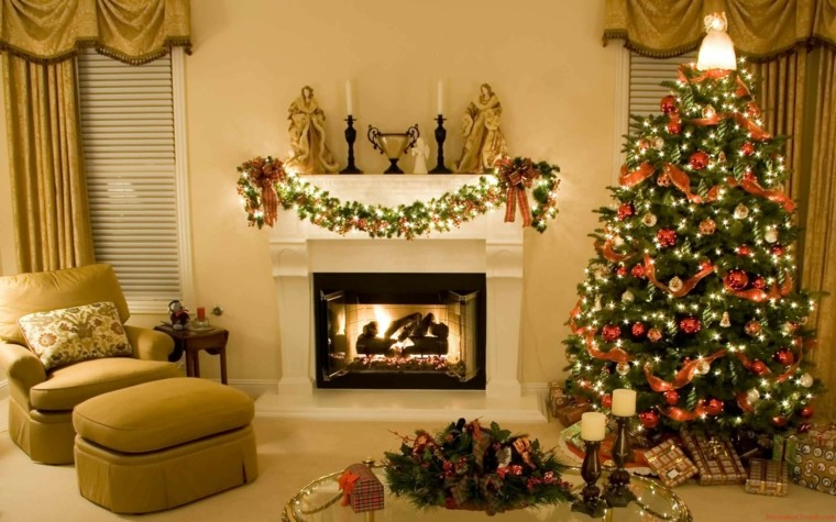 Decorar la chimenea para navidad