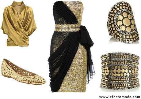combinacion negro y dorado