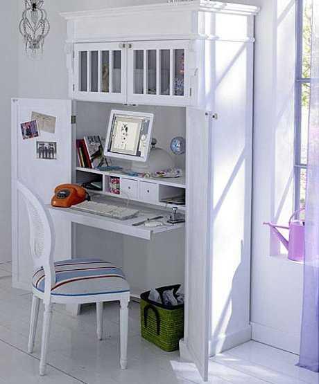 Ideas para ubicar el escritorio dentro del armario