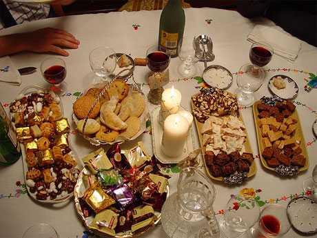 mesa de los días festivos