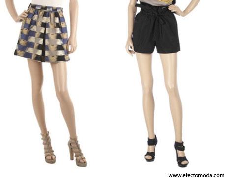 minifalda y pantalones corto