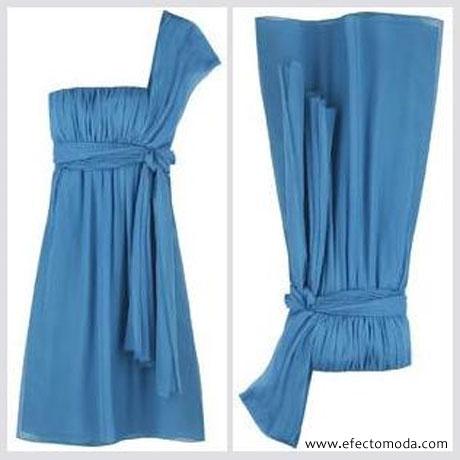 vestido azul de una sola manga